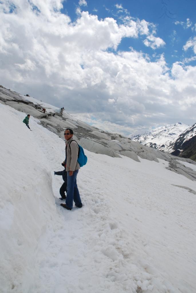 Slippery, icy walk down the glacier.