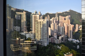 -View of Victoria Peak from the room at sunrise-
